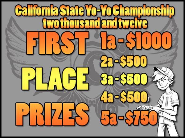 California State Yo-Yo Championship – 2012 – 1st Place Prize Plan