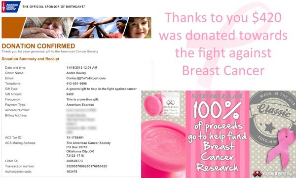 Thanks to All of You and @YoYoJam – $420 Donated!