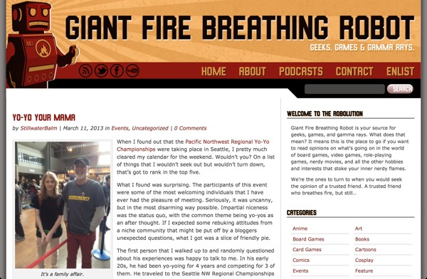 Yo-Yo Article via Giant Fire Breathing Robot!