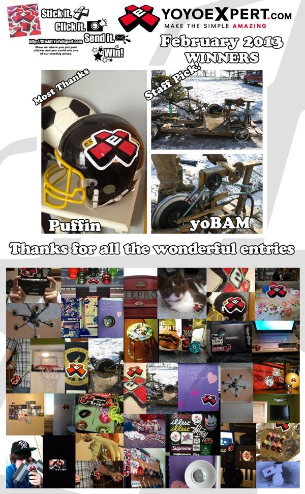 "YoYoExpert ""STICK IT""   Sticker Contest Winners   February 2013"